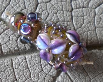Purple Ivory Trio Lampwork Beads by Cherie Sra R114 Flamework Glass Bead Encased Silver Glass Purple Flower Floral Dichroic Aurae Dots