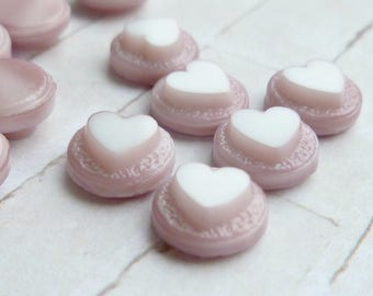 12 Vintage Mauve Glass Cabochons with Heart - 8mm Round (55-2F-12)