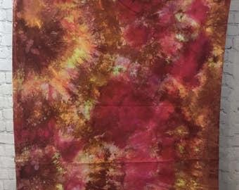 Hand Dyed Fabric - Bright Orange yellow red pink - 1 yard -  Modern Shibori Cotton - 350
