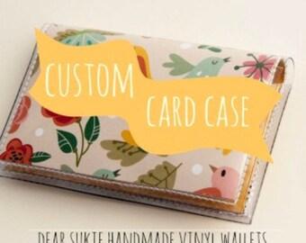 Custom Handmade Vinyl Card Holder, snap wallet, custom wallet, card case, pocket wallet, small, vinyl, paper, cute wallet, unique, vegan