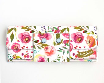 Vinyl Long Wallet - Pastel Floral Pink / flowers, vegan, pretty, large wallet, clutch, card case, vinyl wallet, pink, roses, peonies, peony