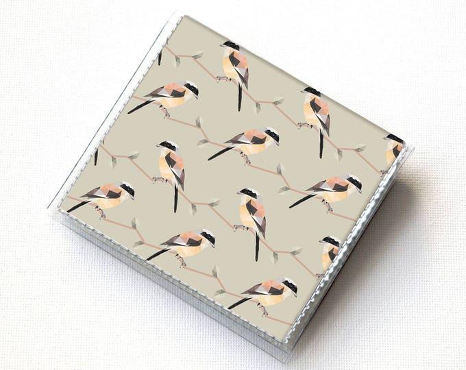 Handmade Vinyl Moo Square Card Holder - Geometric Birds / case, vinyl, snap, wallet, mini card case, moo case, square, bird, woodland