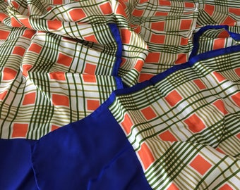 Vintage Scarf Op Art Geometric Glentex Orange Blue Rayon Silk Rectangular 60s