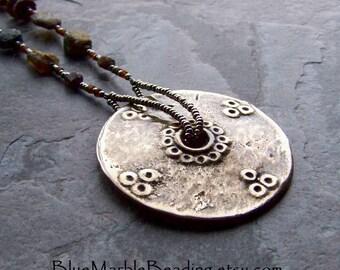 Roman Glass Jewelry, Roman Glass Necklace, Naga Jewelry, Rustic Necklace, Brass Disc, French Metal Seed Beads, Boho Jewelry, Tribal Jewelry