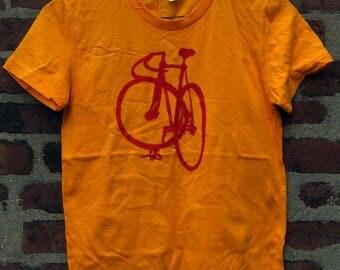 Red on Yellow Track Bike Shirt - Men's XL - Bike Art T - Bicycle Art Fixie T Fixed Gear Shirt