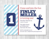 Custom Printable 5x7 Nautical Boy's 1st Birthday Party Invitation in Blue, Red and Navy Blue with Anchor - FINLEY