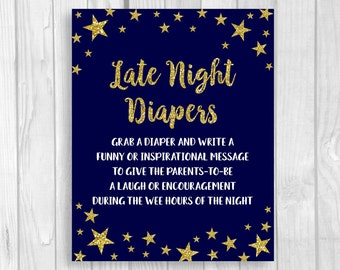 Twinkle Twinkle Little Star Printable 5x7 or 8x10 Late Night Diapers Baby Shower Sign - Midnight Blue and Gold Glitter - Instant Download