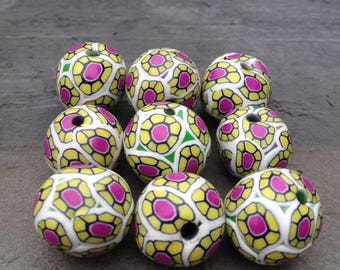 Cute Set of Floral Pattern Round Shaped Beads Handmade Polymer Clay Artisan Jewelry Supplies