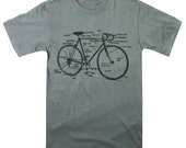Mens Bike Diagram Shirt Retro Racing Bicycle Diagram Dark Charcoal Silver T-shirt