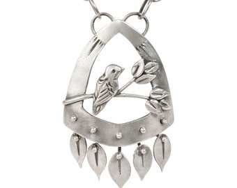 Canopy Bird Pendant - Sterling Silver Bird Necklace with Handmade Chain and Kinetic Leaf Dangles