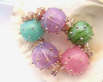 5 Hollow Beads & 6 Spacers Handmade Lampwork
