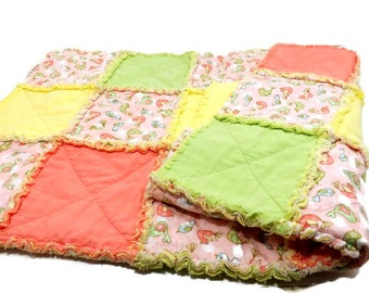Flannel Rag Quilt / Citrus Colors / Bird Print / Solid Coral Yellow Lime Green