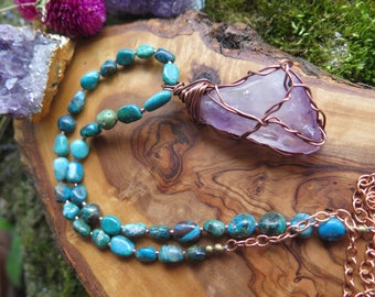 Raw Amethyst Pendant - Copper Wire Wrapped Chrysocolla Turquoise Shade - Gemstone Necklace Stone Jewelry - Boho Free Spirit - Good Vibes