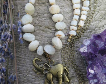 Elephant Stone Necklace - Long Bohemian Pendant - Neutral Moonstone & Shell - Festival Gypsy Boho - Crystal Vibes - Brass Chain - Hippy Chic