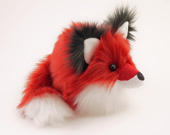 Poppy Red Fox Stuffed Animal Cute Fox Plush Toy Kawaii Plushie Holiday Gift Fluffy Faux Fur Toy Large Red Fox Softie 6x10 Inches