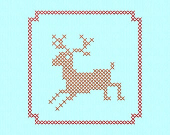 Cross Stitch style Deer block Machine Embroidery Design File