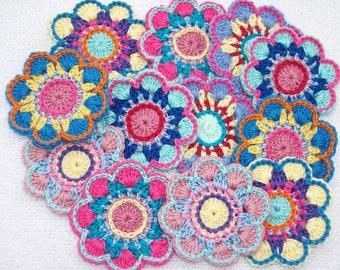 12 handmade cotton thread crochet applique flowers -- 2599