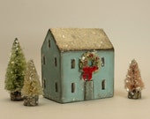 Handmade Wooden Blue House with Wreath Set- Christmas Village- Threes Trees- Natural Mica Snow