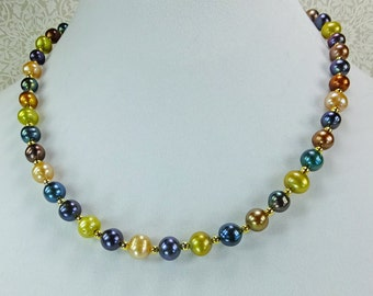Pearl Choker Multi Colored Cultured Freshwater Pearls 19.5in Necklace