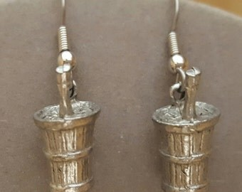 Champagne Bucket Earrings Pewter