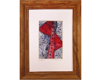 Mini Art Quilt, Framed Abstract Quilt, Fabric Mosaic Pink Red and Blue