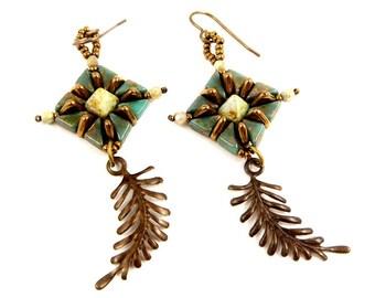 Green and Bronze Earrings Leaf Earrings Beadwoven Jewelry Hand Woven Accessory Earthy Jewelry Long Dangle Earrings Shoulder Dusters