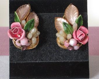 Vintage Signed Robert Enamel Rose Earrings, Haskell Style Jewelry, Light Pink Jewelry, Molded Glass Earrings, Repair Done