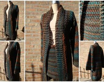 Crochet Autumn Blend olored Skirt Set - Duster - Sweater - Skirt- shrug