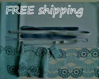 FREE Ship DIY BRA Kit Shades of Blue  by Merckwaerdigh