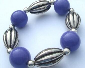 Stretch Bracelet PURPLE acrylic bead design stretch bracelet hand made by Zipogiabella