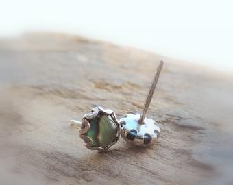 Sterling Silver Abalone Stud Earrings - Paua shell earring studs