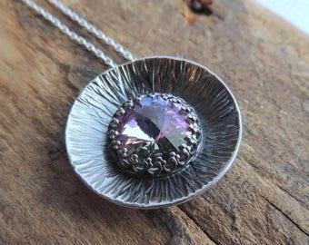 20% OFF Sale Purple Swarovski Crystal Sterling Silver Necklace - Artisan Handmade Necklace