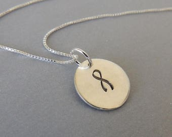 20% OFF Sale Sterling Silver Stamped Disc Necklace - Awareness Charm Necklace