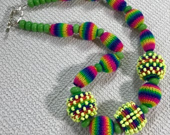 Knitted and Beaded Bead Necklace