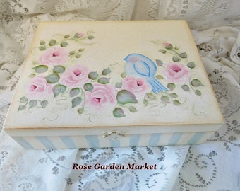 Jewelry Keepsake Wood Box,Hand Painted Pink Cottage Roses with Blue Bird , side Stripes and inside Accents, ECS