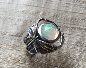 Opal in Sterling Silver- The Butterfly Duo Ring