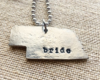 Nebraska Bride Jewelry - Nebraska Bride Necklace - Nebraska Wedding - Nebraska Girl Jewelry - Nebraska Bride - Nebraska bachelorette
