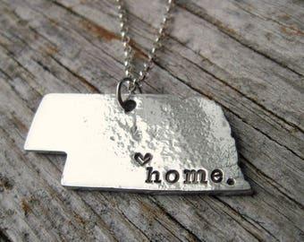 Personalized Nebraska Necklace Ornament / Key Chain - Gift for Her - Silver Necklace - Jewelry - Hand Stamped - State of Nebraska - Nebraska
