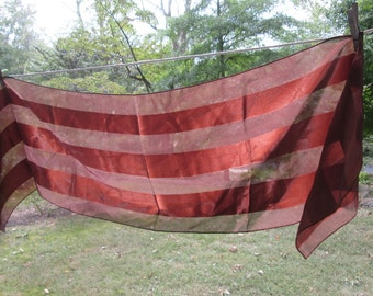 Vintage Rust and Brown Long Scarf - Rust and Brown Striped Scarf