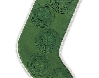 Modern Holiday Stocking - Green with Multi-colored Gears