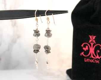 Labradorite and Sterling Silver Gemstone Dangle Earrings