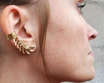 Gold-Brass-Fishbone-Chain-Ear Cuff-Earrings / Free US Shipping