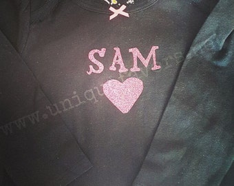 Simply sweet heart custom design for Babies! Glitter and other finishes available! Love and Valentine's Gear