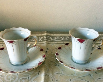 Occ Japan demitasse tea cups and saucers - Egyptian style design