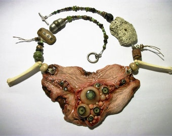 Human Flesh, Voodoo, Cannibal, Chest Plate, EyeBalls, Bone, Zombie Head Necklace