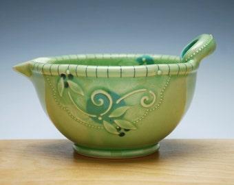 Batter / mixing Bowl in Spring Green gloss w. Blue dots & detail, Handmade Victorian modern