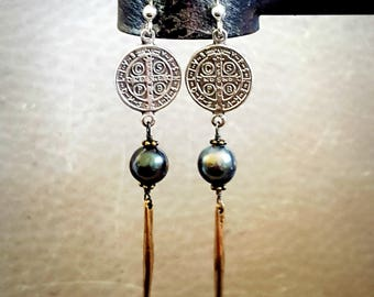 St Benedict Pearl Spike Earrings, TAHITIAN PEARL Silver Gold Spike Earrings, Saint Benedict Religious Medal Medallion Jewelry Old World