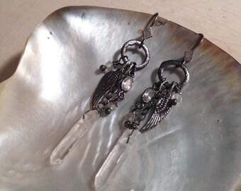 Angel wing and quartz earrings