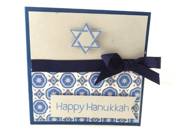 Hanukkah Cards, Set of 4, Blue and Gray with Star of David, 4x4 with Envelopes, Chanukah Cards, Happy Hanukkah