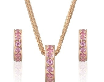 Pink Sapphire Pendant and Earrings in 18k Rose Gold - Breast Cancer Awareness Jewelry Set or October Birthstone Gift - LS3261